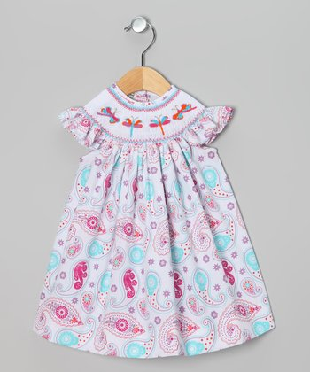 Pink Paisley Dragonfly Angel-Sleeve Dress - Infant & Toddler