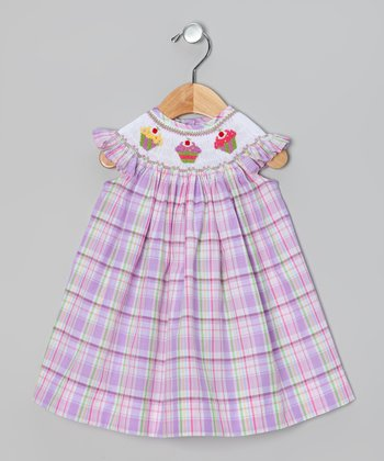 Pink & Purple Plaid Cupcake Angel-Sleeve Dress - Infant & Toddler