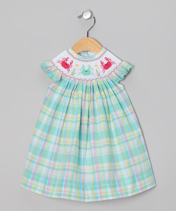 Aqua & Pink Plaid Crab Angel-Sleeve Dress - Infant