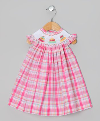 Fuchsia Plaid Cake Angel-Sleeve Dress - Infant & Toddler