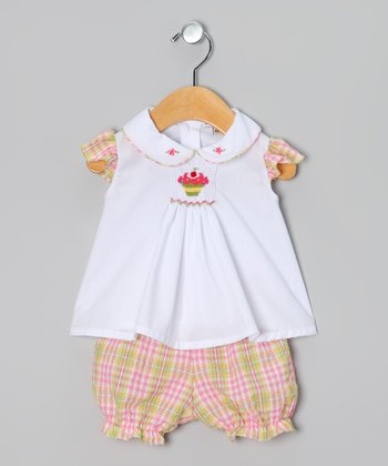 Powder Pink & Marigold Plaid Cupcake Top & Bloomers - Infant