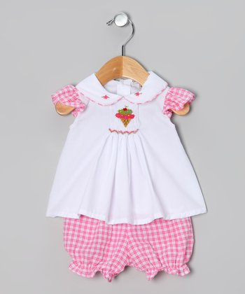Pink & White Gingham Ice Cream Top & Bloomers - Infant