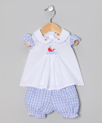 Blue & Pink Plaid Whale Top & Bloomers - Infant