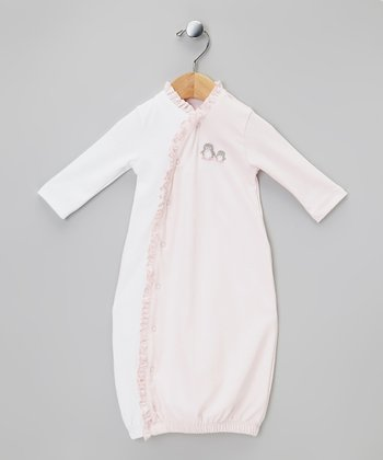 White & Pink Penguin Ruffle Gown - Infant