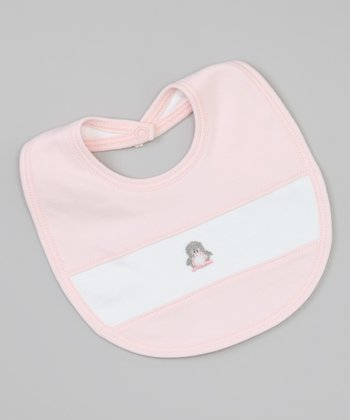 Pink & White Penguin Bib