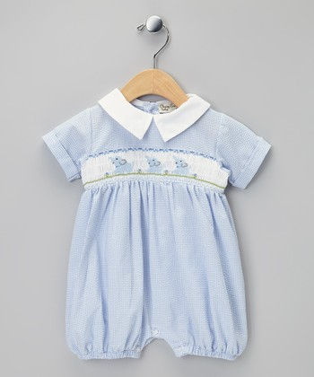 Blue Elephants Smocked Bubble Romper - Infant