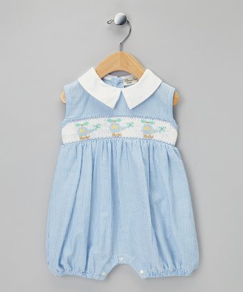 Blue Helicopter Smocked Bubble Romper - Infant