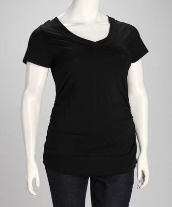 Black Plus-Size V-Neck Tee