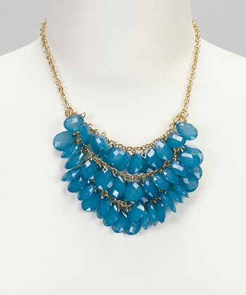 Blue & Gold Three Strand Bead Necklace