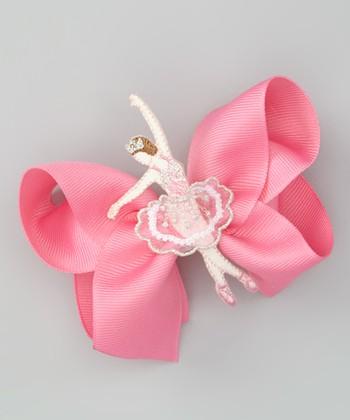 Hot Pink Polka Dot Ballet Slipper Bow Clip