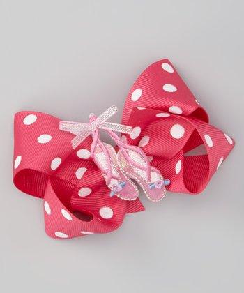 Pink Polka Dot Ballet Slipper Bow Clip