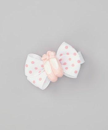 White Polka Dot Ballet Slipper Bow Clip