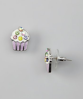 Lavender Crystal Cupcake Stud Earrings