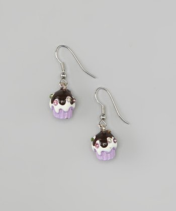 Lavender Cupcake Drop Earrings