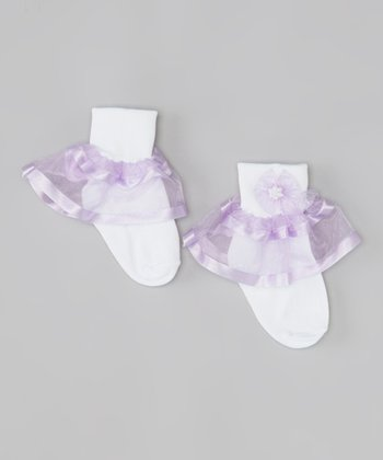 White & Lavender Ruffle Bow Socks