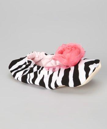 Pink Zebra Rosette Slipper
