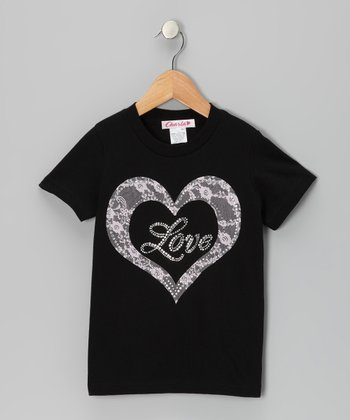 Black 'Love' Heart Tee - Toddler & Girls