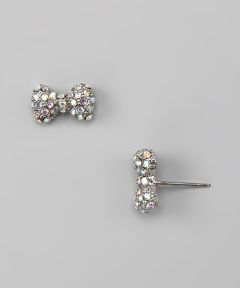 Aqua Bow Stud Earrings