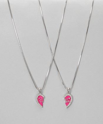 Hot Pink Enamel 'Best Friends' Necklace Set