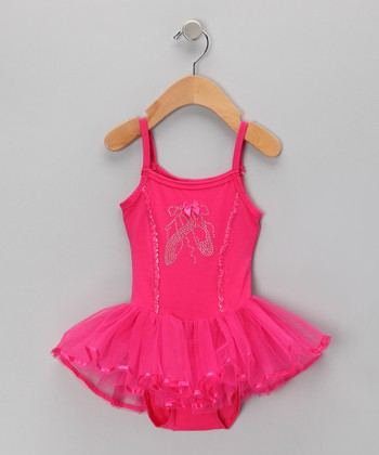 Hot Pink Rhinestone Ballet Skirted Leotard - Infant, Toddler & Girls