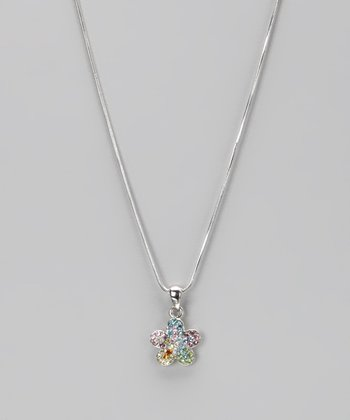 Rainbow Rhinestone Flower Necklace