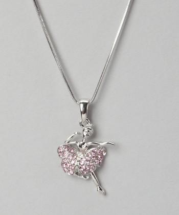 Silver & Pink Crystal Ballerina Necklace