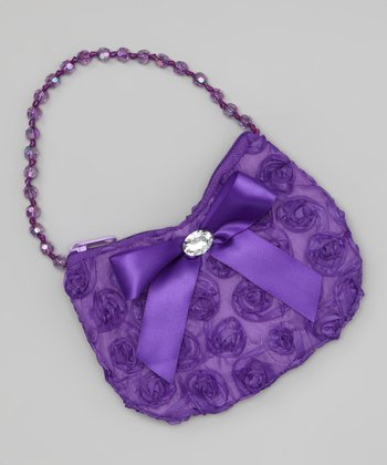 Purple Beaded Rosette Purse