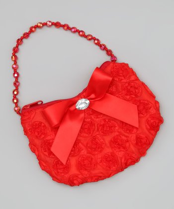 Red Beaded Rosette Purse