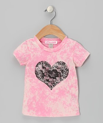 Pink Tie-Dye Lace Heart Tee - Infant