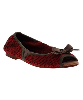 Barn Red Amie Peep-Toe Flat