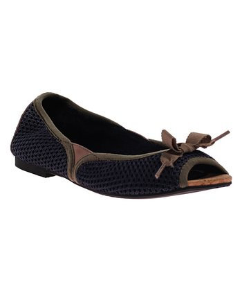 Harbor Blue Amie Peep-Toe Flat