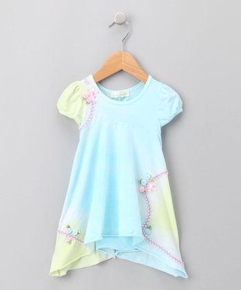 Blue & Green Tie-Dye Dress - Infant