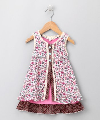 Pink & Aqua Layered Empire-Waist Dress - Infant