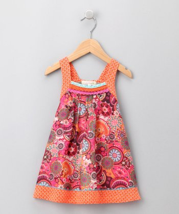 Orange Bohemian-Print Dress - Infant