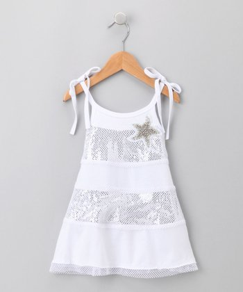 White Sequin-Striped Dress - Infant
