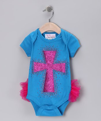 Turquoise & Pink Cross Ruffle Bodysuit - Infant