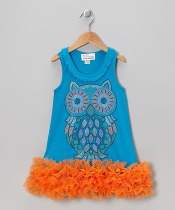 Turquoise Owl Ruffle Dress - Infant, Toddler & Girls