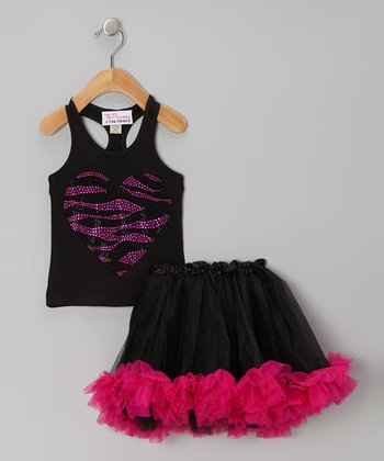 Black & Pink Zebra Tank & Tutu - Infant, Toddler & Girls