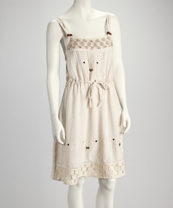 Natural Embroidered Drawstring Dress