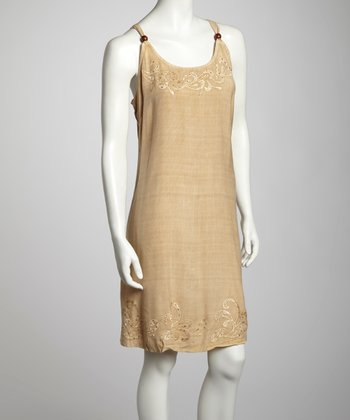 Fawn Wood Beaded Dress