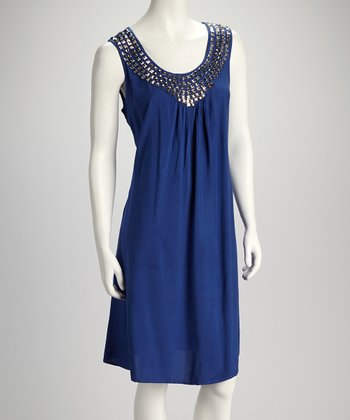 Royal Metallic Stud Dress