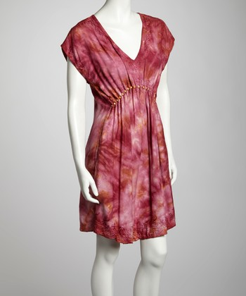 Burgundy & Khaki Tie-Dye Cap-Sleeve Dress