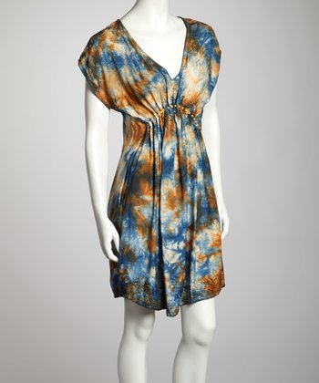 Navy & Khaki Tie-Dye Cap-Sleeve Dress