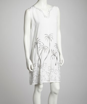 White Palm Embroidered Dress