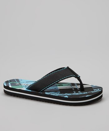 Black & Blue Plaid Flip-Flop