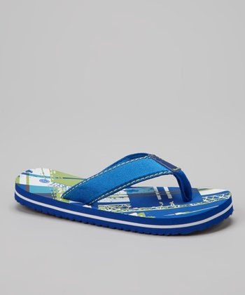 Royal Blue & Green Plaid Flip-Flop