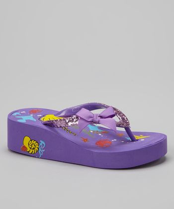 Purple & Yellow Seascape Bow Wedge Flip-Flop