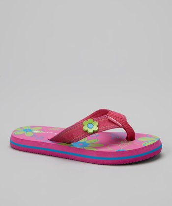 Pink & Lime Green Flower Flip-Flop