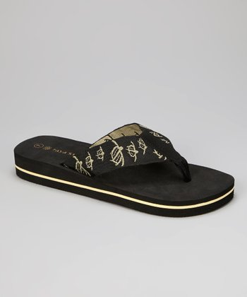 Black & Tan Turtle Flip-Flop