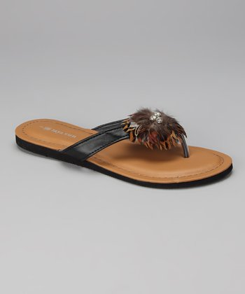 Tan Feather Flip-Flop
